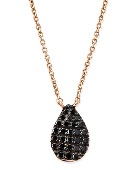 Diane Kordas Rose Gold Black Diamond Teardrop Necklace
