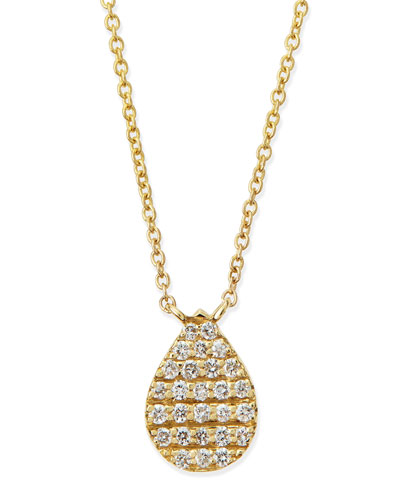 Diane Kordas Yellow Gold White Diamond Teardrop Necklace
