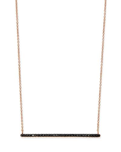 Diane Kordas Rose Gold Black Diamond Bar Necklace