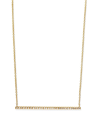 Diane Kordas Yellow Gold White Diamond Bar Necklace