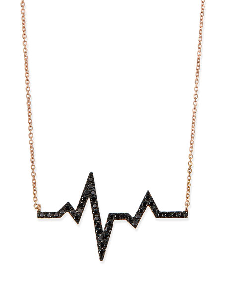 Rose Gold Black Diamond Heartbeat Necklace