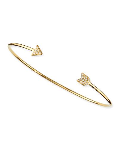 Diane Kordas Yellow Gold Diamond Arrow Bangle