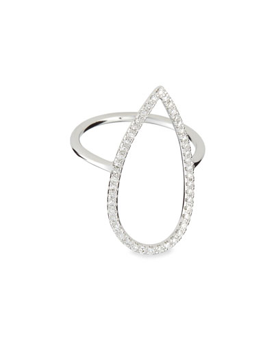 Diane Kordas White Gold Diamond-Pear Ring, Sz 6