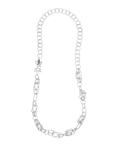 COOMI Spring Silver Necklace with Lotus Clasp, 37""