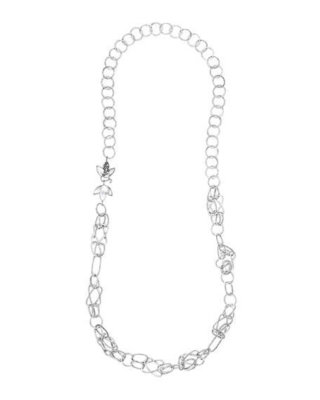 Spring Silver Necklace with Lotus Clasp, 37