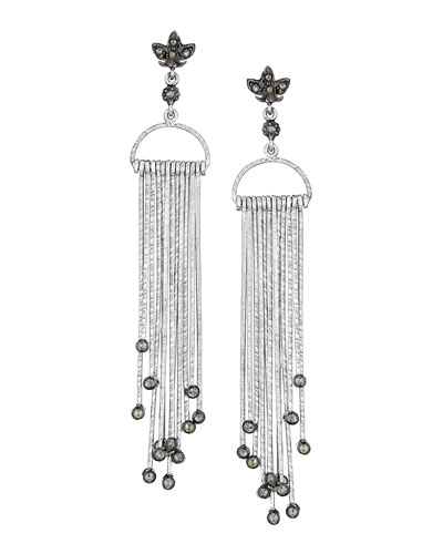 COOMI Spring Sterling Silver Earrings with Diamond Stick Design
