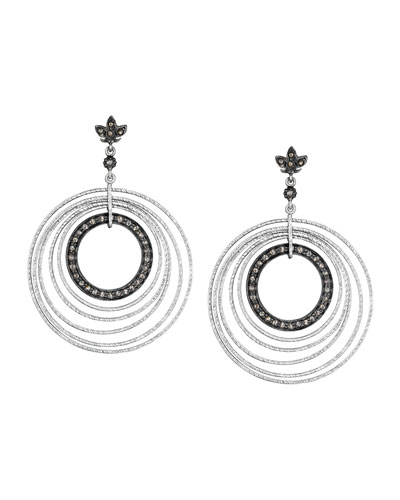 COOMI Spring Silver Circle Earrings with Diamonds