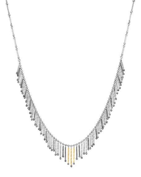 Spring Sterling Silver & Gold Necklace with Diamonds, Small