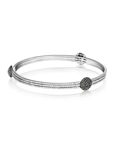 COOMI Spring Sterling Silver Bangle with Diamond Spheres