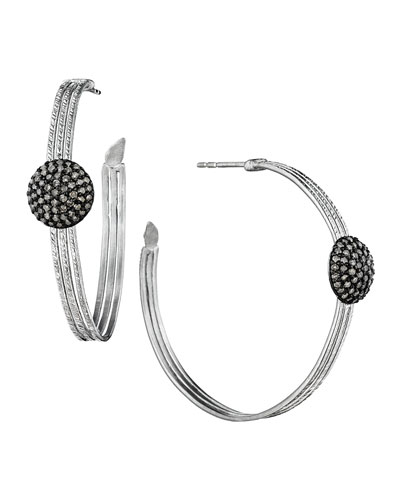 COOMI Spring Silver Hoops with Diamond Spheres