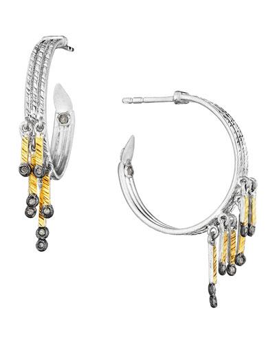 Spring Tricolor Hoop Earrings with Diamonds