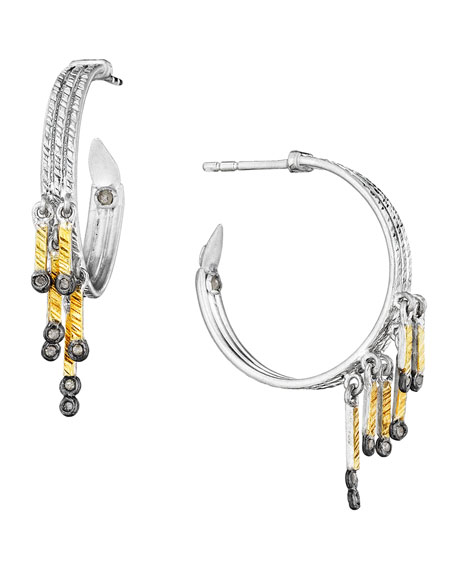 COOMI Spring Tricolor Hoop Earrings with Diamonds