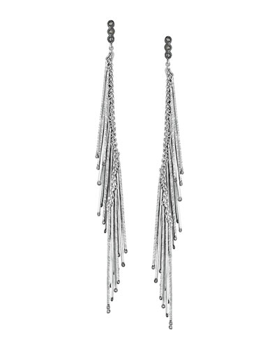 COOMI Spring Silver Linear Earrings with Diamonds, 5.5""