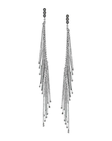 """Spring Silver Linear Earrings with Diamonds, 5.5"""""""