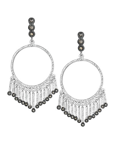 COOMI Spring Silver Open-Circle Earrings with Diamonds