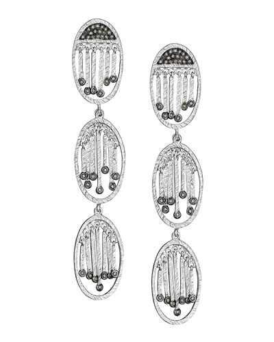COOMI Spring Silver Three-Oval Diamond Earrings