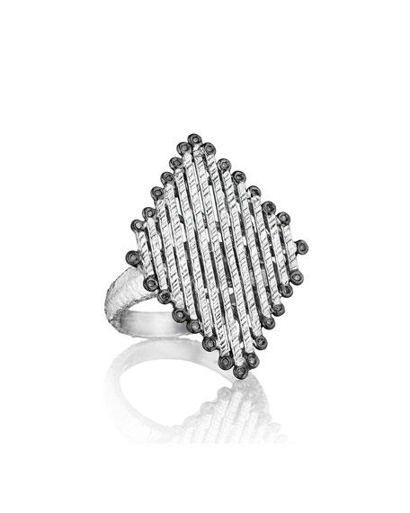 Spring Silver Diamond-Shaped Ring, Sz 6
