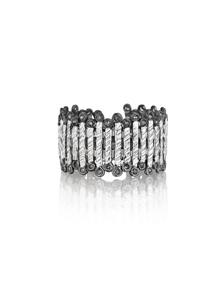 COOMI Spring Silver Band Ring with Diamonds, Sz