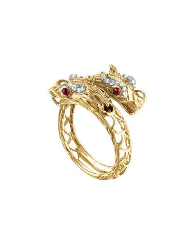 John Hardy Naga 18k Gold, Diamond & Ruby Gold Ring