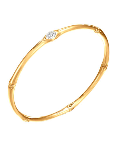 John Hardy Bamboo 18k Gold & Diamond Bangle Bracelet