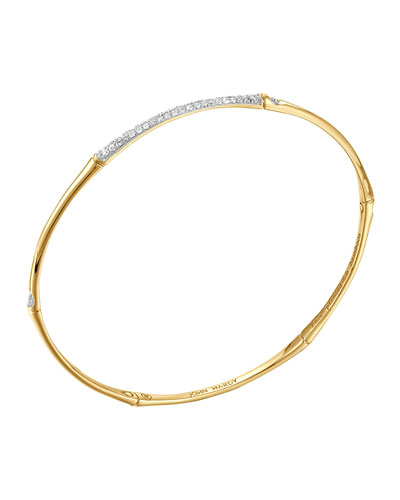 John Hardy Bamboo 18k Gold & Pave Diamond Center Bangle