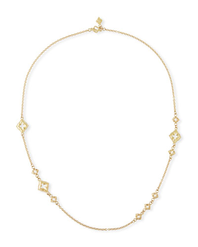 Armenta 18k Clover Scroll Diamond Necklace