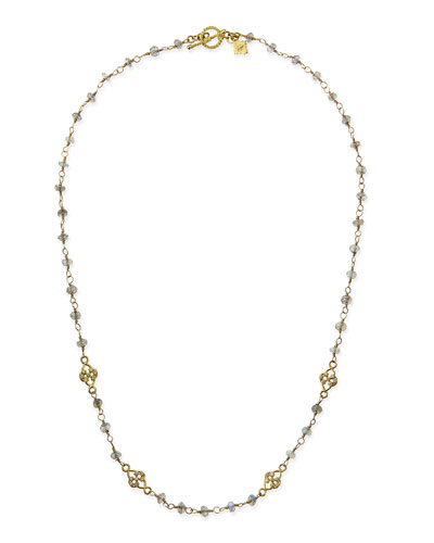 Armenta Sueno 18k Necklace with Labradorite Beads & Diamond Scrolls