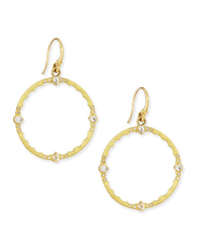 Armenta Sueno 18k Round-Drop Earrings with White Sapphires & Diamonds