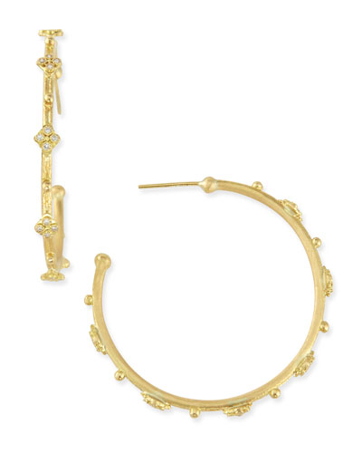 Armenta Sueno 18k Diamond Cravelli Hoop Earrings, 35mm