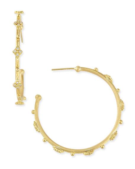 Sueno 18k Diamond Cravelli Hoop Earrings, 35mm