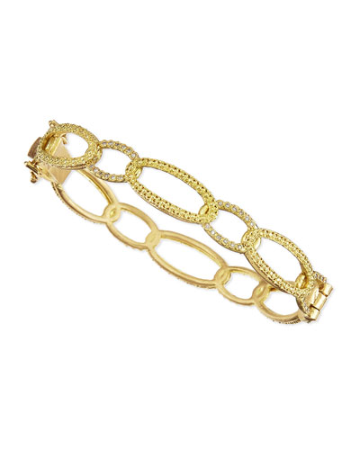 Armenta 18k Circle-Link Bracelet with Diamonds