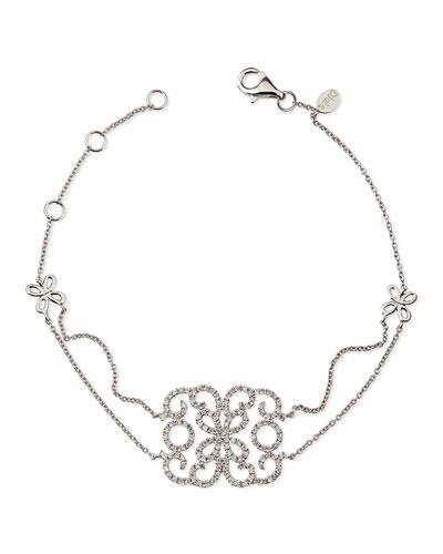 Djula 18k White Gold & Diamond Lace Butterfly Bracelet