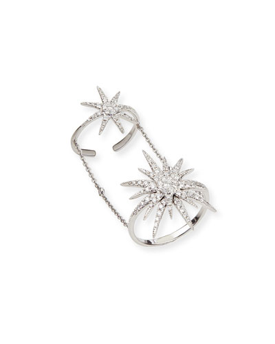 Djula 18k White Gold & Diamond Sunburst Knuckle Ring