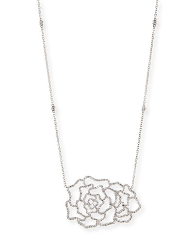 Djula 18k White Gold & Diamond Dentelle Rose Necklace