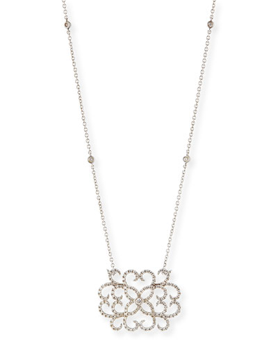 Djula 18k White Gold & Diamond Lace Heart Pendant Necklace