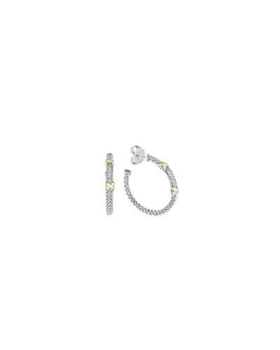 Lagos Sterling Silver & 18k Gold Diamond Caviar Hoop Earrings