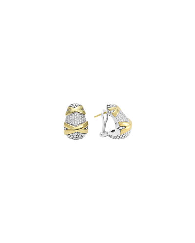 Lagos Sterling Silver & 18k Gold Diamond Caviar Earrings