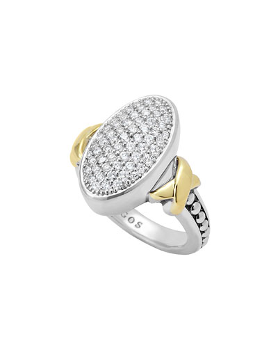 Lagos Sterling Silver Caviar & 18k Gold Oval Pave Diamond Ring