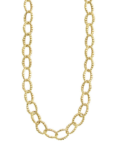 Lagos 18k Gold Fluted Oval-Link Necklace, 39""