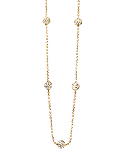 Lagos 18k Gold Necklace with 5 Pave Diamond Stations