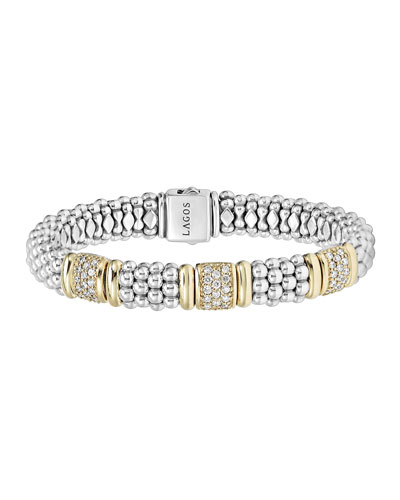 Lagos Sterling Silver Diamonds & Caviar Bracelet with 18k Gold