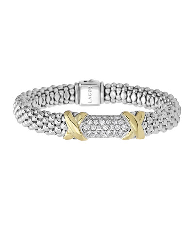 Lagos Sterling Silver Diamond Lux Bracelet with 18k Gold