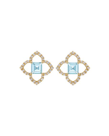 Aurora Blue Topaz and Diamond Earrings