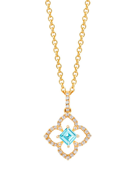 Aurora Blue Topaz & Diamond Pendant in 18k Gold