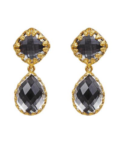 Small Jane White Topaz Drop Earrings, Gray