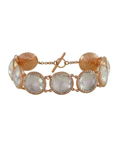 Larkspur & Hawk Olivia Gold-Washed Topaz Button Bracelet, White