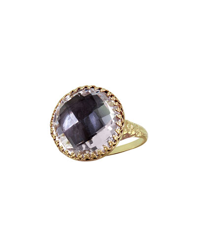 Larkspur & Hawk Olivia Gold-Washed Topaz Button Ring, Gray