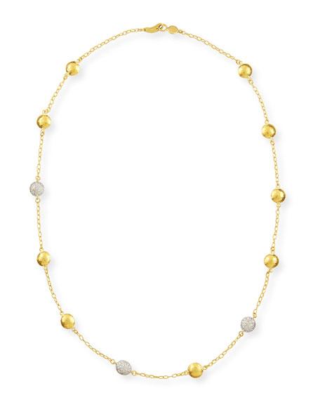 Gurhan Mini Lentil Ice 3-Diamond-Station Necklace