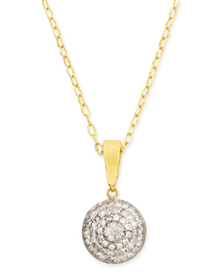 Lentil Ice 24k Gold & Diamond Pendant Necklace