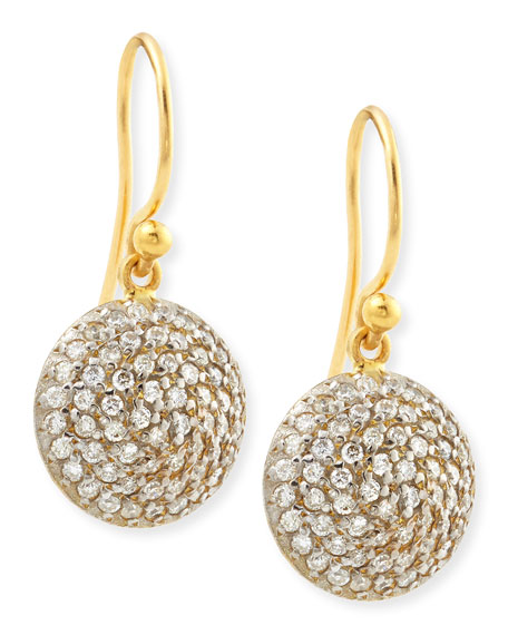 Gurhan Lentil Ice 24k Gold & Diamond Dangle Earrings